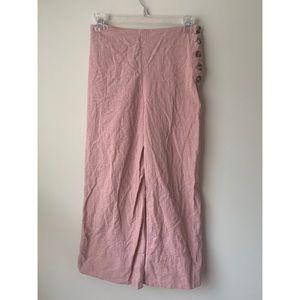 good luck gem button detail crop pants pink